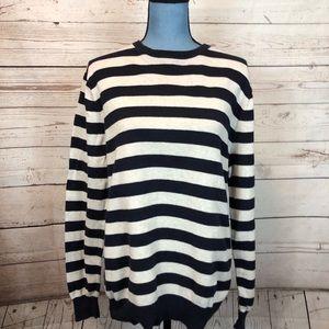 Black/Gray J Crew 100% cotton sweater Sz M #0497